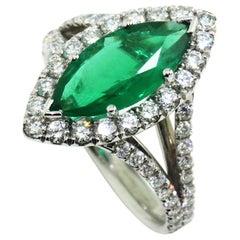 18 Karat Marquise Emerald Diamond Ring