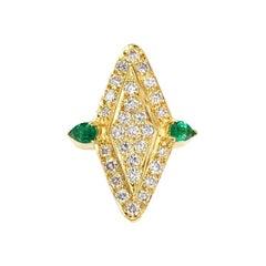 18 Karat Marquise Shape Pave Diamond Modern Ring