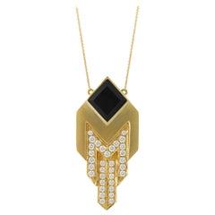 18 Karat Matte Yellow Gold Art Deco Style Necklace with Black Onyx & Diamonds