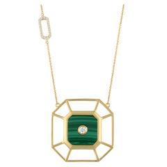 18 Karat Matte Yellow Gold Art Deco Hexagon Necklace with Malachite and Diamonds