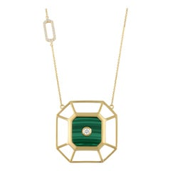 18 Karat Matte Yellow Gold Art Deco Style Hexagon Necklace Malachite Diamonds