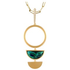 18 Karat Matte Yellow Gold Half-Moon Necklace with Azurite-Malachite & Diamonds
