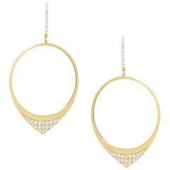 18 Karat Matte Yellow Gold Round Circle Dangle Fashion Earrings with Diamonds