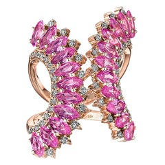 18 Karat Mirage Pink Gold Ring with Diamonds and Sapphire