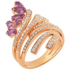 18 Karat Mirage Pink Gold Ring with Vs Gh Diamonds and Pink Sapphire