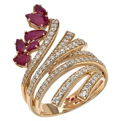 18 Karat Mirage Yellow Gold Ring with Diamonds and Ruby