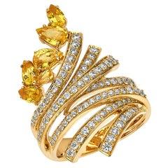 18 Karat Mirage Yellow Gold Ring with Diamonds and Sapphire