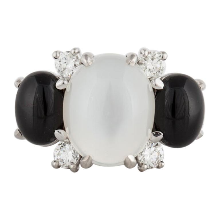 18 Karat Moonstone Onyx Diamond Ring For Sale