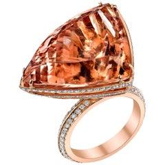 18 Karat Morganite Diamond Linear Ark Ring