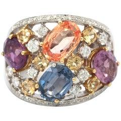 18 Karat Multi-Color Sapphire and Diamond Ring