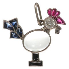 18 Karat Multi-Color Stone and Diamond Chicken Pendent or Charm