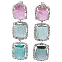 18 Karat Multi-Color Tourmaline Earrings