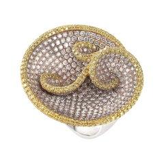 18 Karat Multi Gold and Diamond Swirl Ring