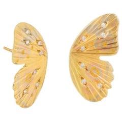 18 Karat Multi Inlay Diamond Pave Watercolor Buckeye Butterfly Earrings