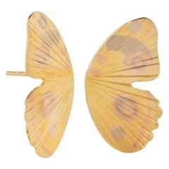 18 Karat Multi Inlay Watercolor Buckeye Butterfly Wing Earrings