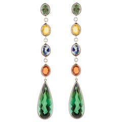 18 Karat Multicolored Sapphires and Tourmaline Earrings