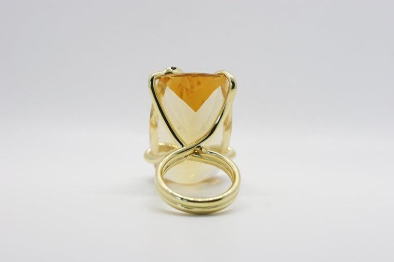 Contemporary 18 Karat Natural Citrine Sapphire Diamond Climbing Snake Ring  For Sale