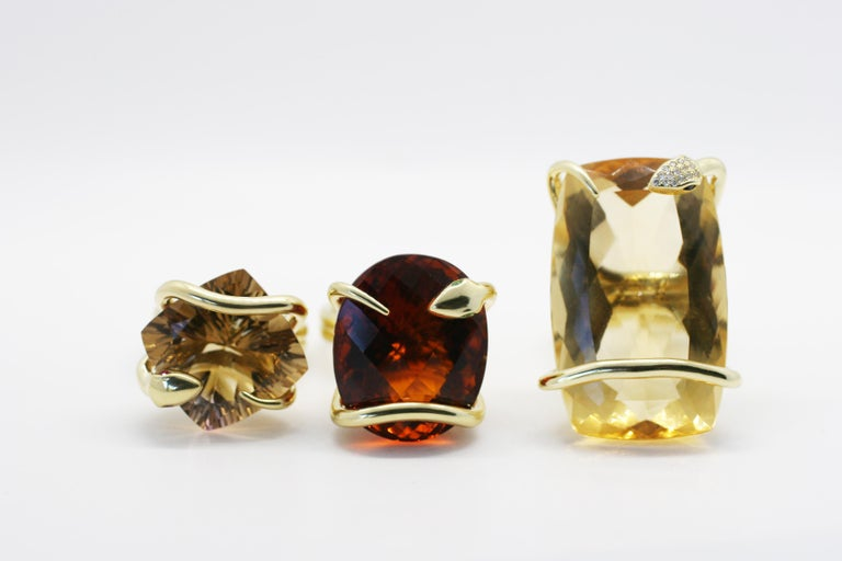 18 Karat Natural Citrine Sapphire Diamond Climbing Snake Ring  In New Condition For Sale In West Hollywood, CA