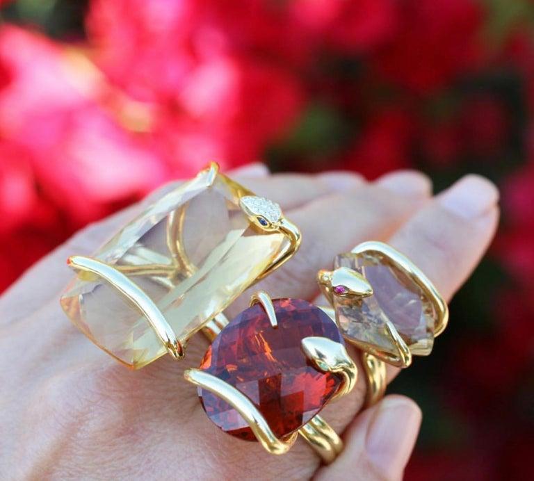 Women's or Men's 18 Karat Natural Citrine Sapphire Diamond Climbing Snake Ring  For Sale