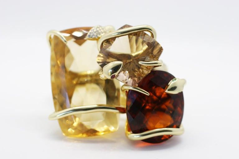 18 Karat Natural Citrine Sapphire Diamond Climbing Snake Ring  For Sale 1