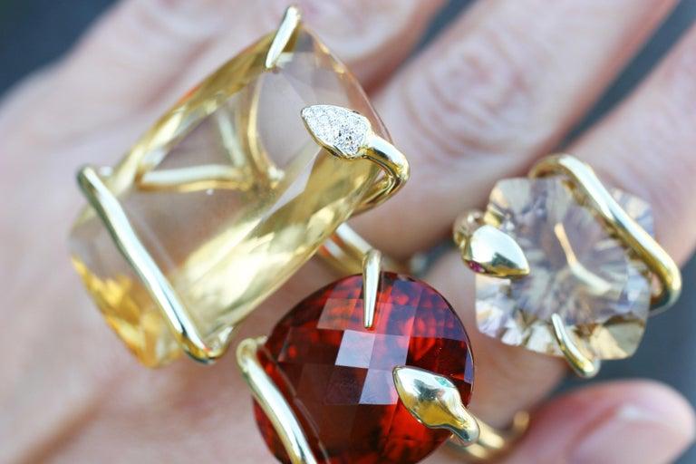 18 Karat Natural Citrine Sapphire Diamond Climbing Snake Ring  For Sale 2