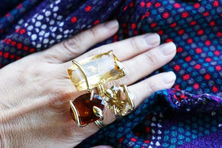 18 Karat Natural Citrine Sapphire Diamond Climbing Snake Ring  For Sale 3