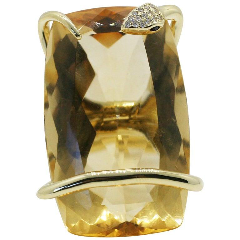18 Karat Natural Citrine Sapphire Diamond Climbing Snake Ring  For Sale