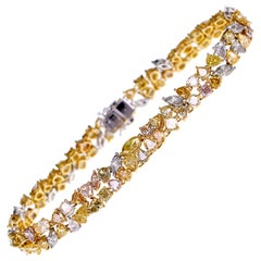 18 Karat Natural Fancy Color Diamond 'Pink, Yellow, Orange' Shapes Bracelet