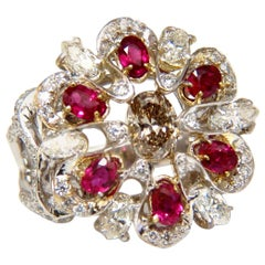 18 Karat Natural Fancy Color Diamond Ruby Cocktail Cluster Ring