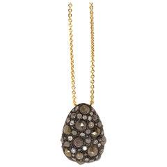 18 Karat Natural Icy Diamond Pendant Necklace