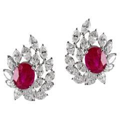 18 Karat Natural Ruby White Diamond Stud Earring