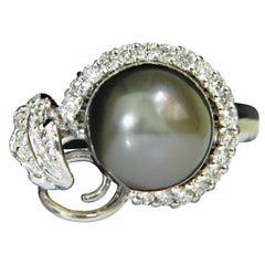 18 Karat Natural Tahitian Black Lipped Oyster Pearl Diamond .75 Carat Ring