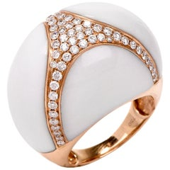 18 Karat Natural White Coral Diamond Gold Bombe Cocktail Ring
