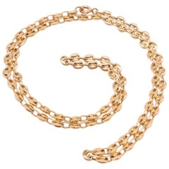 """18 Karat Nautical Link """"Gucci"""" style Necklace with Anchor Chain, circa 1900"""