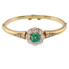 18 Karat Old European Diamond and Colombian Emerald Bangle
