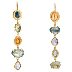 18 Karat One-of-a-Kind Blue and Orange Sapphire Drop Earrings over 10 Carat