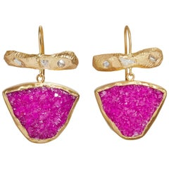 18 Karat One-of-a-Kind Diamond Bar and Pink Calcite Earrings