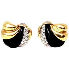 18 Karat Onyx and Diamond Clip Earrings