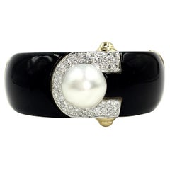 18 Karat Onyx, Diamond and South Sea Pearl Wide Bangle Bracelet