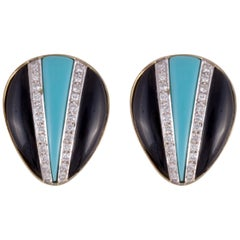 18 Karat Onyx Diamond Turquoise Earrings
