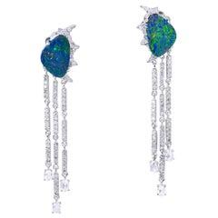 18 Karat Opal Chain Drop Diamond Earrings