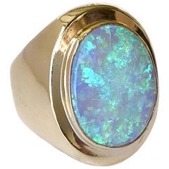 18 Karat Oval Opal Ring