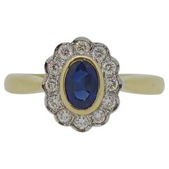 18 Karat Oval Sapphire & Diamond Edwardian Style Cluster Ring
