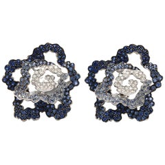 18 Karat Palmiero Diamond and Blue Sapphire Flower Earrings