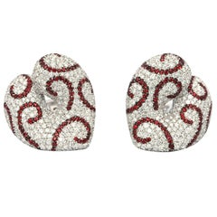 18 Karat Palmiero Diamond and Ruby Earrings