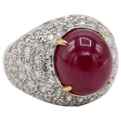 GIA Certified 18 Karat Pave Diamond and Cabochon Ruby Dome Cocktail Ring