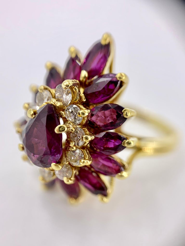18 Karat Pear Shape Ruby and Diamond Vintage Cocktail Ring For Sale 6