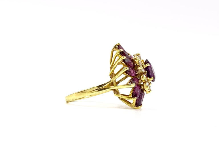 Pear Cut 18 Karat Pear Shape Ruby and Diamond Vintage Cocktail Ring For Sale