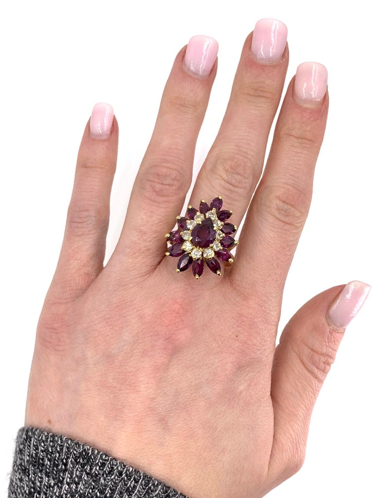 18 Karat Pear Shape Ruby and Diamond Vintage Cocktail Ring For Sale 2