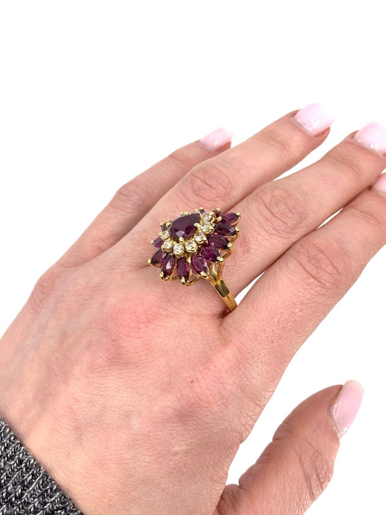 18 Karat Pear Shape Ruby and Diamond Vintage Cocktail Ring For Sale 3